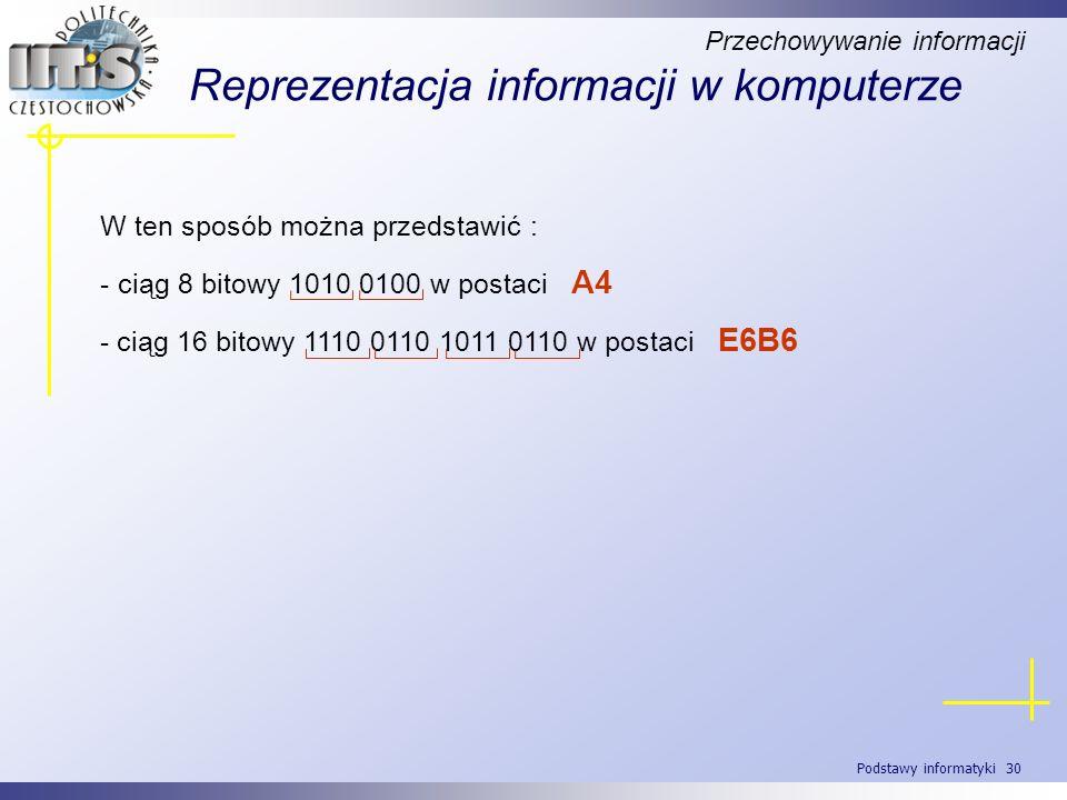 Podstawy informatyki 30 Reprezentacja informacji w komputerze W ten sposób można przedstawić : - ciąg 8 bitowy 1010 0100 w postaci A4 - ciąg 16 bitowy