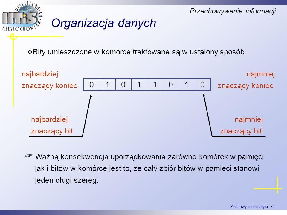 Podstawy informatyki 32 Organizacja danych Bity umieszczone w komórce traktowane są w ustalony sposób. 01011010 najbardziej znaczący koniec najmniej z