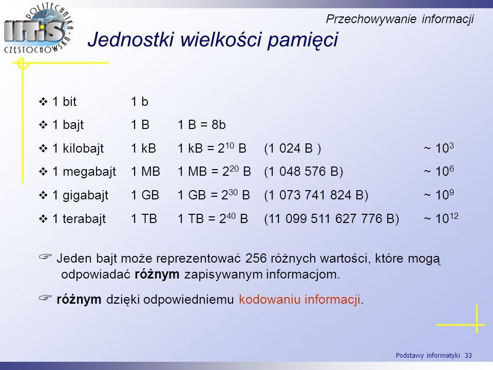 Podstawy informatyki 33 Jednostki wielkości pamięci Przechowywanie informacji 1 bit1 b 1 bajt1 B1 B = 8b 1 kilobajt1 kB1 kB = 2 10 B (1 024 B )~ 10 3