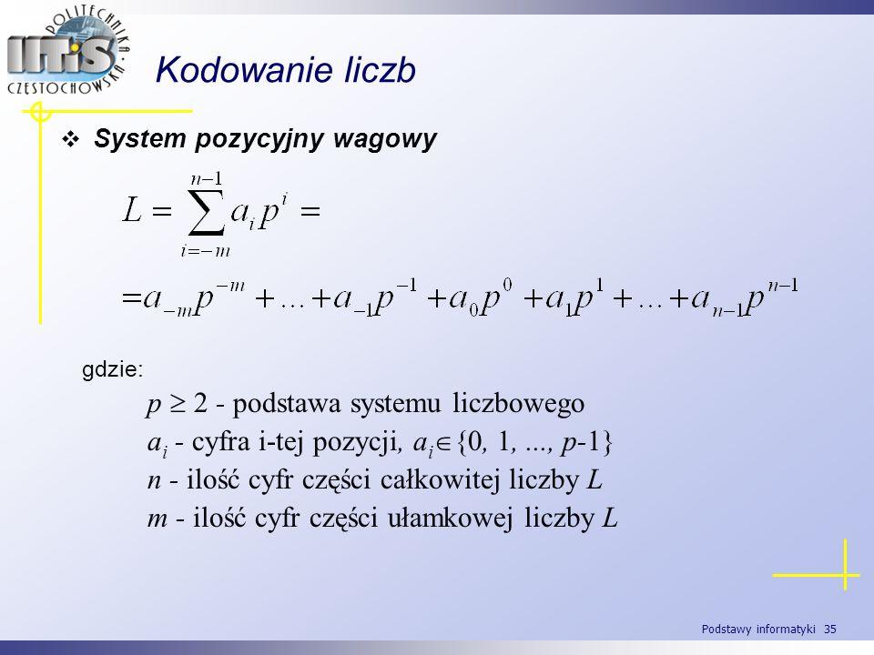 Podstawy informatyki 35 Kodowanie liczb System pozycyjny wagowy gdzie: p 2 - podstawa systemu liczbowego a i - cyfra i-tej pozycji, a i {0, 1,..., p-1