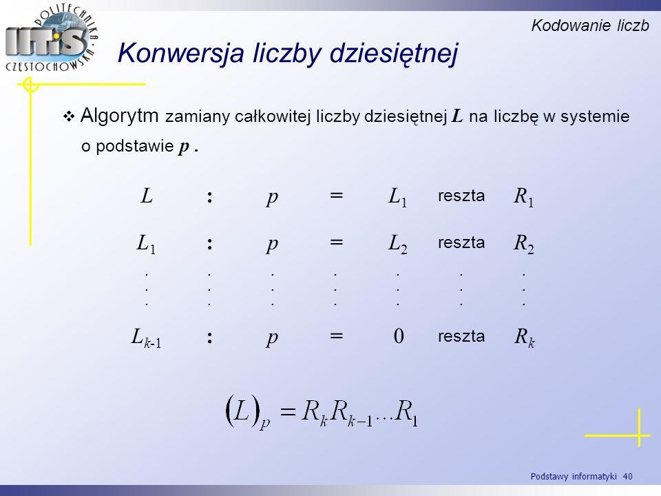 Podstawy informatyki 40 Konwersja liczby dziesiętnej Algorytm zamiany całkowitej liczby dziesiętnej L na liczbę w systemie o podstawie p. Kodowanie li