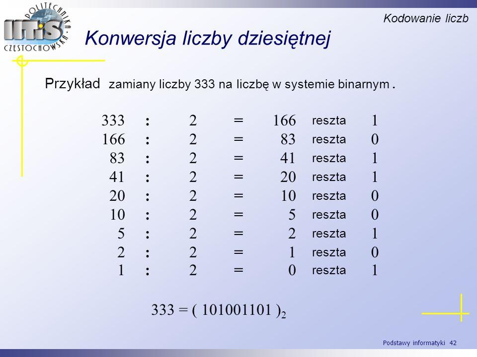 Podstawy informatyki 42 Konwersja liczby dziesiętnej Przykład zamiany liczby 333 na liczbę w systemie binarnym. Kodowanie liczb 1 reszta 166=2:333 0 r