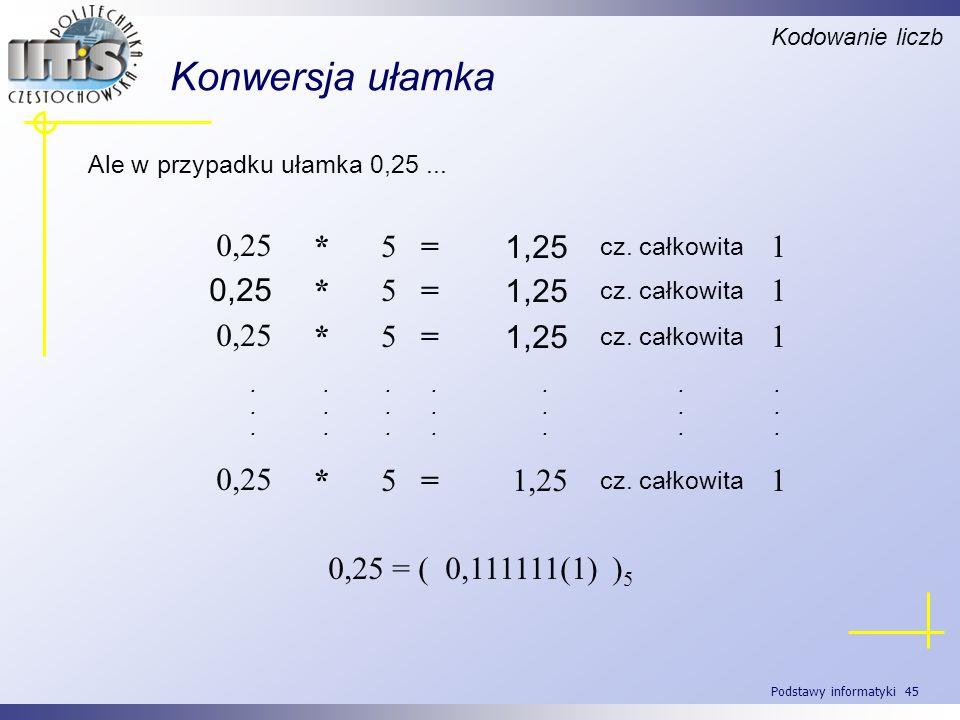 Podstawy informatyki 45 Konwersja ułamka Ale w przypadku ułamka 0,25... Kodowanie liczb 0,25 = ( 0,111111(1) ) 5 1 cz. całkowita 1,25 =5* 0,25 1 cz. c