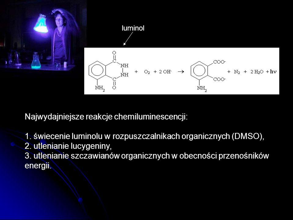 Najwydajniejsze reakcje chemiluminescencji: 1. świecenie luminolu w rozpuszczalnikach organicznych (DMSO), 2. utlenianie lucygeniny, 3. utlenianie szc