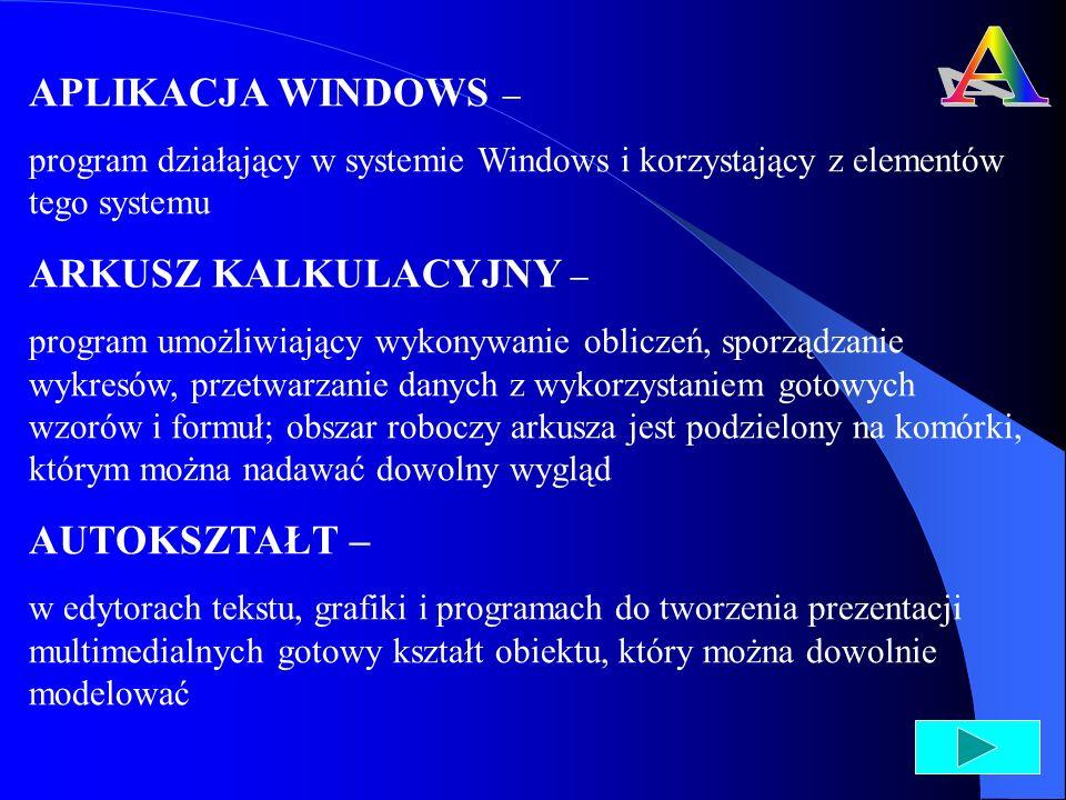 AKAPIT – fragment tekstu, którego pierwszy wiersz jest najczęściej wcięty; w edytorach tekstu koniec akapitu oznaczony jest znakiem ¶, odpowiadającym naciśnięciu klawisza Enter AKTYWNA KOMÓRKA – w arkuszu kalkulacyjnym takim jak MS Excel komórka aktywna wskazana myszką lub za pomocą klawiatury, zaznaczona obramowaniem; adres takiej komórki wyświetlany jest w polu nazwy komórki ANIMACJA – zmieniające się kolejno na ekranie monitora obrazy (klatki), stwarzające wrażenie ruchu