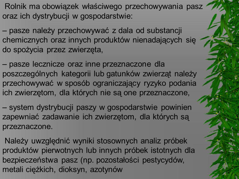 Rolnik ma obowiązek właściwego przechowywania pasz oraz ich dystrybucji w gospodarstwie: – pasze należy przechowywać z dala od substancji chemicznych