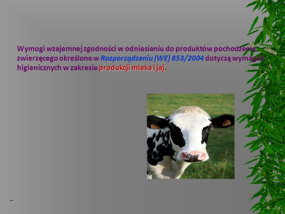 -- -16- produkcji mleka i jaj Wymogi wzajemnej zgodności w odniesieniu do produktów pochodzenia zwierzęcego określone w Rozporządzeniu (WE) 853/2004 d