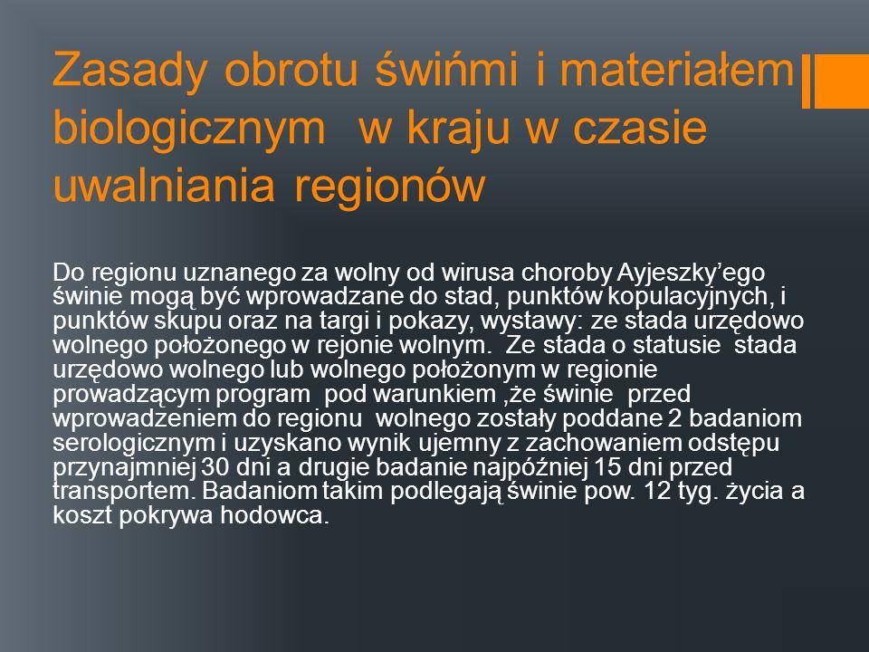Zasady obrotu świńmi i materiałem biologicznym w kraju w czasie uwalniania regionów Do regionu uznanego za wolny od wirusa choroby Ayjeszkyego świnie