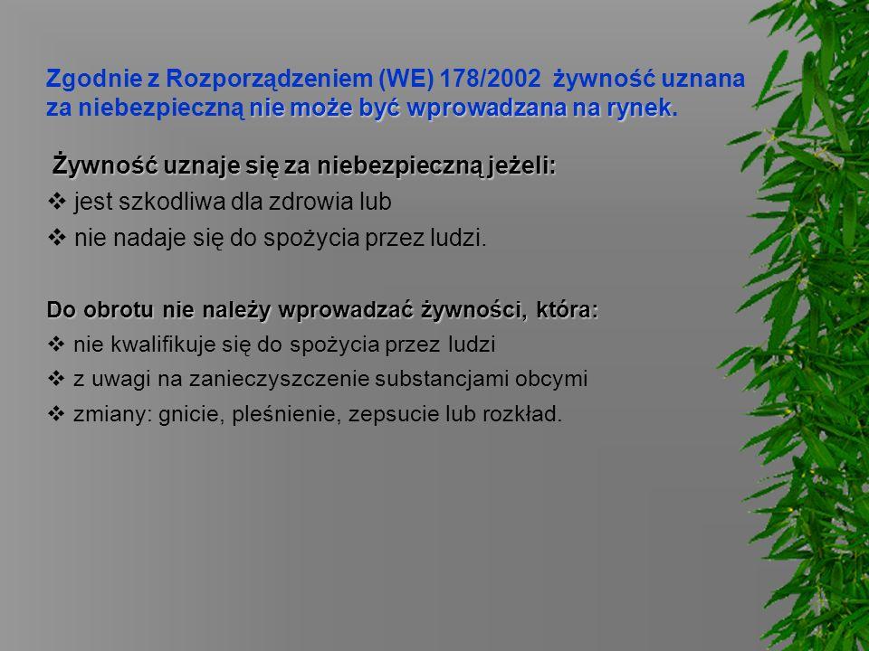 nie może być wprowadzana na rynek Zgodnie z Rozporządzeniem (WE) 178/2002 żywność uznana za niebezpieczną nie może być wprowadzana na rynek. Żywność u