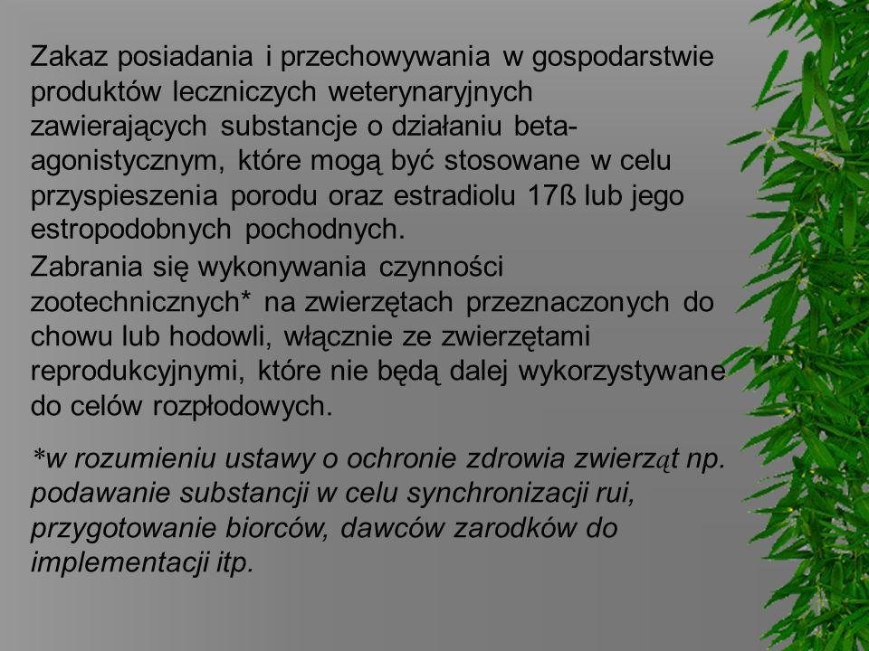 Zakaz posiadania i przechowywania w gospodarstwie produktów leczniczych weterynaryjnych zawierających substancje o działaniu beta- agonistycznym, któr