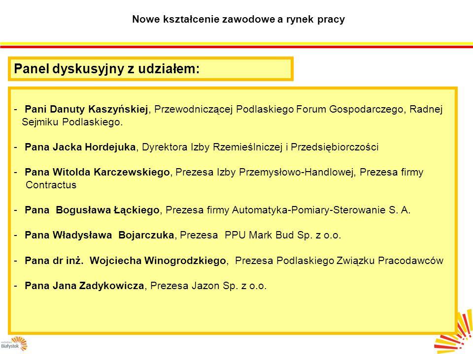 Nowe kształcenie zawodowe a rynek pracy Panel dyskusyjny z udziałem: - Pani Danuty Kaszyńskiej, Przewodniczącej Podlaskiego Forum Gospodarczego, Radnej Sejmiku Podlaskiego.