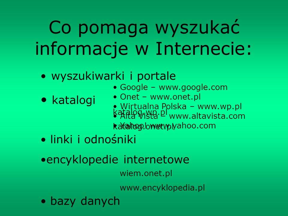 Co pomaga wyszukać informacje w Internecie: wyszukiwarki i portale Google – www.google.com Onet – www.onet.pl Wirtualna Polska – www.wp.pl Alta Vista