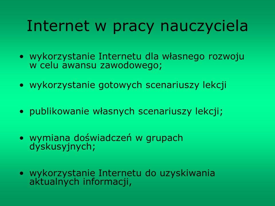 Internet w pracy nauczyciela wykorzystanie Internetu dla własnego rozwoju w celu awansu zawodowego; wykorzystanie gotowych scenariuszy lekcji publikow