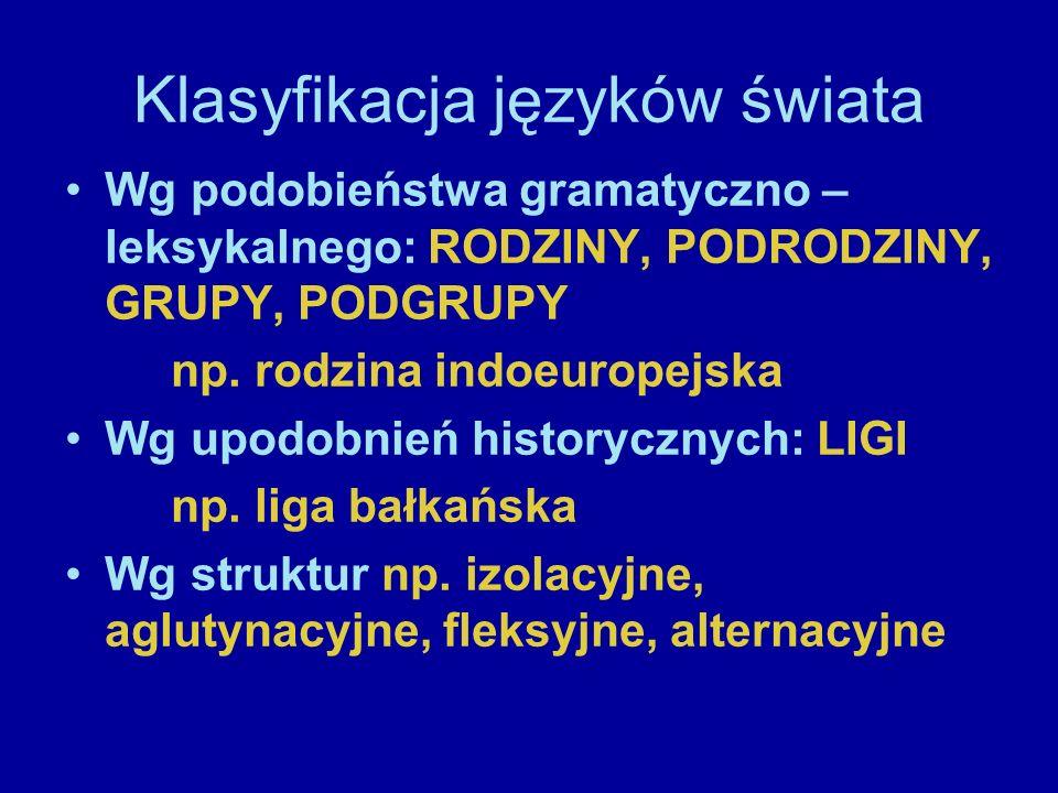 Klasyfikacja języków świata Wg podobieństwa gramatyczno – leksykalnego: RODZINY, PODRODZINY, GRUPY, PODGRUPY np. rodzina indoeuropejska Wg upodobnień