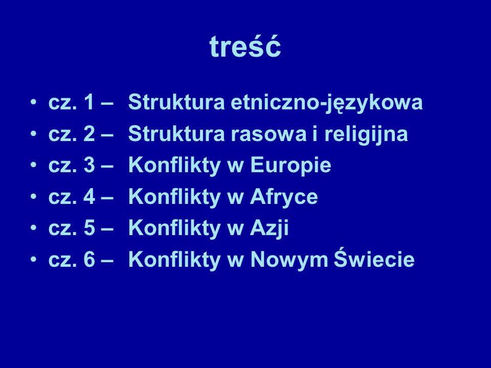 treść cz. 1 – Struktura etniczno-językowa cz. 2 – Struktura rasowa i religijna cz. 3 – Konflikty w Europie cz. 4 – Konflikty w Afryce cz. 5 – Konflikt