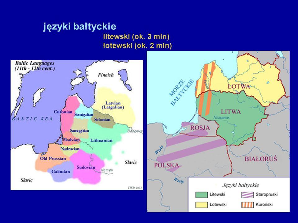 języki bałtyckie litewski (ok. 3 mln) łotewski (ok. 2 mln)