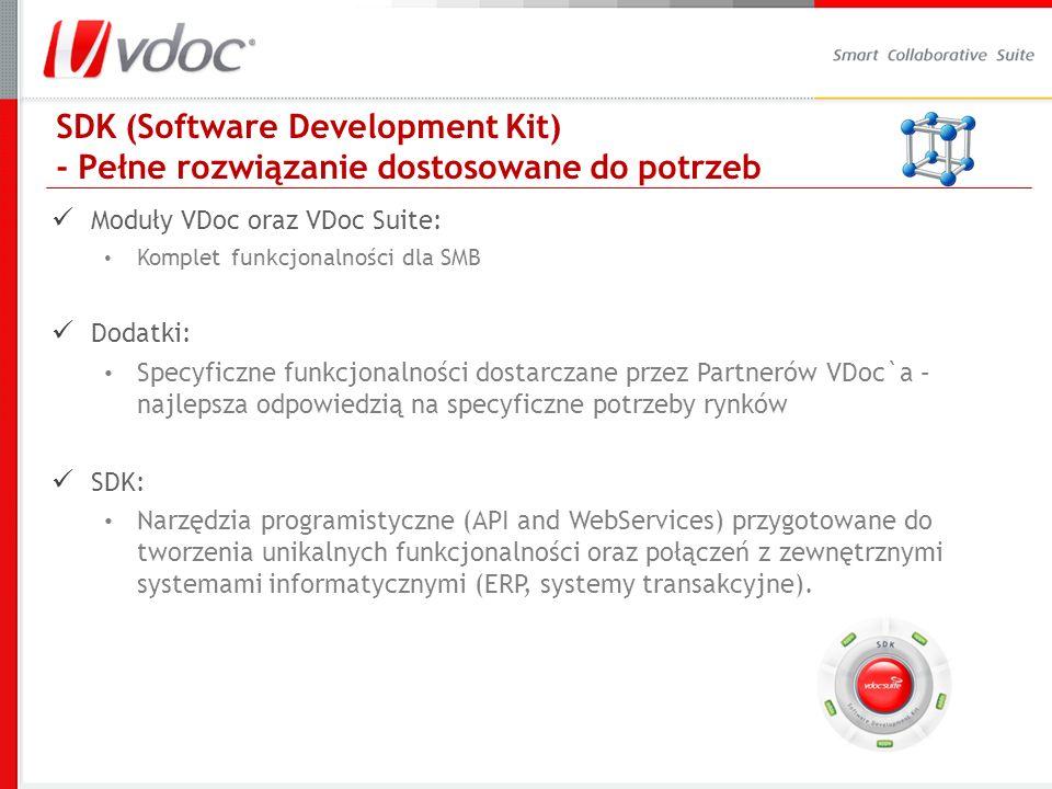 SDK (Software Development Kit) - Pełne rozwiązanie dostosowane do potrzeb Moduły VDoc oraz VDoc Suite: Komplet funkcjonalności dla SMB Dodatki: Specyf