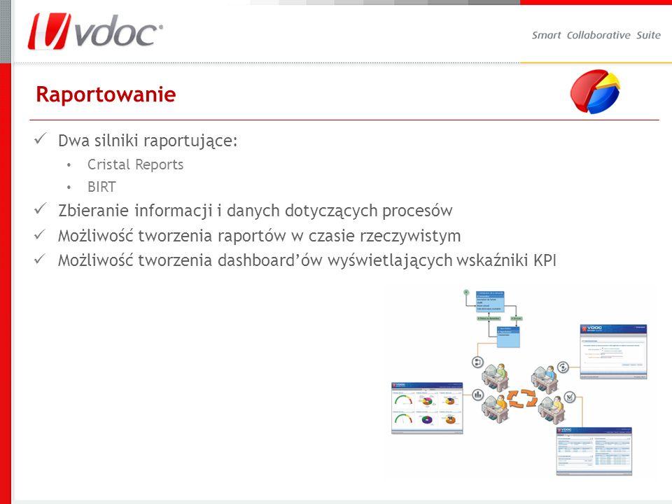 Raportowanie Dwa silniki raportujące: Cristal Reports BIRT Zbieranie informacji i danych dotyczących procesów Możliwość tworzenia raportów w czasie rzeczywistym Możliwość tworzenia dashboardów wyświetlających wskaźniki KPI