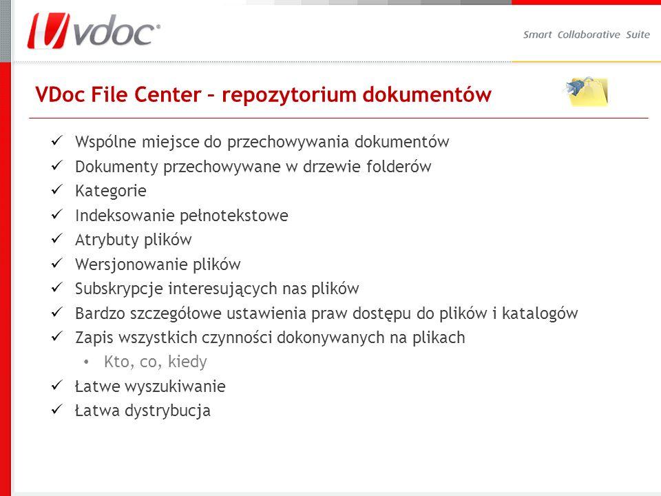 VDoc File Center – repozytorium dokumentów Wspólne miejsce do przechowywania dokumentów Dokumenty przechowywane w drzewie folderów Kategorie Indeksowanie pełnotekstowe Atrybuty plików Wersjonowanie plików Subskrypcje interesujących nas plików Bardzo szczegółowe ustawienia praw dostępu do plików i katalogów Zapis wszystkich czynności dokonywanych na plikach Kto, co, kiedy Łatwe wyszukiwanie Łatwa dystrybucja