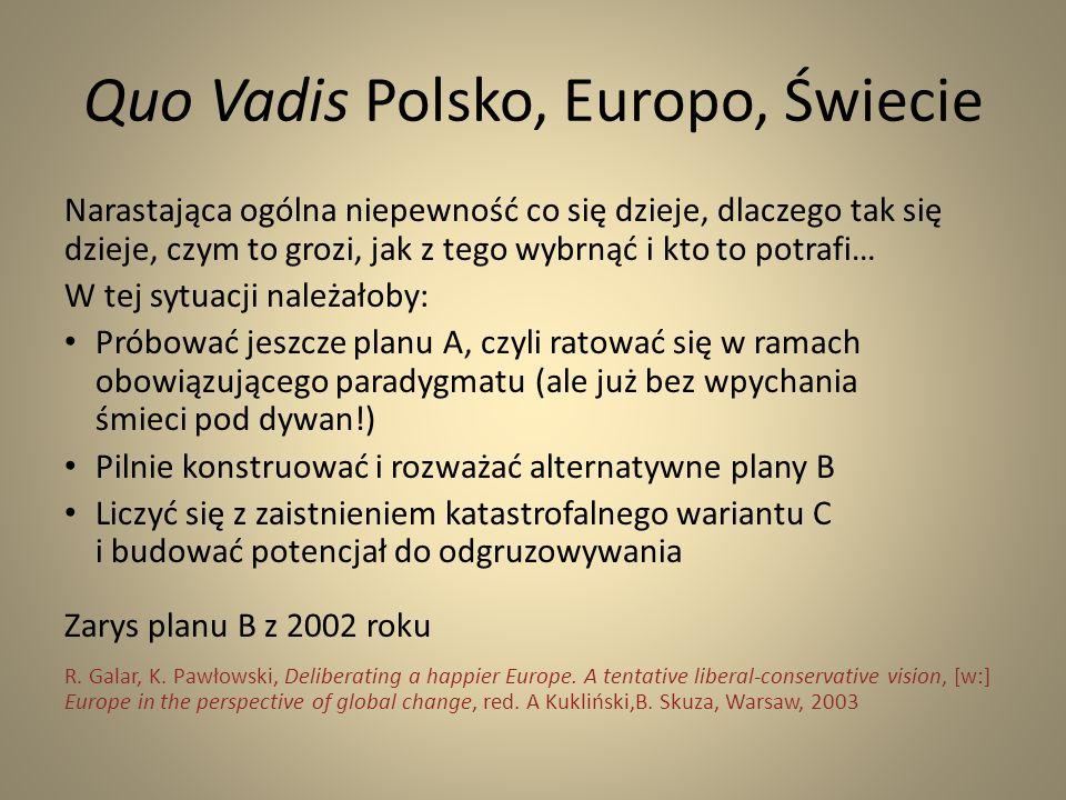 Quo Vadis Polsko, Europo, Świecie Narastająca ogólna niepewność co się dzieje, dlaczego tak się dzieje, czym to grozi, jak z tego wybrnąć i kto to pot