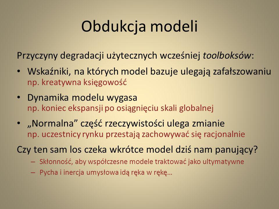 Obdukcja modeli Przyczyny degradacji użytecznych wcześniej toolboksów: Wskaźniki, na których model bazuje ulegają zafałszowaniu np. kreatywna księgowo