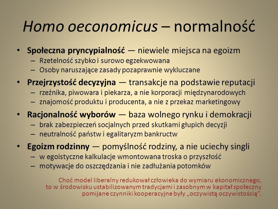 Homo oeconomicus – normalność Społeczna pryncypialność niewiele miejsca na egoizm – Rzetelność szybko i surowo egzekwowana – Osoby naruszające zasady