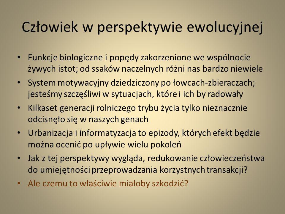 Homo oeconomicus oeconomicus XX wieczna transformacja Homo oeconomicus Nowy ekonomicus emancypuje się, chce zrzucić okowy biologii i kultury Obraz świata redukuje się do proceduralnych stereotypów (rynek, demokracja, edukacja itd.) Czołowe zderzenie z rozumem Konfuzja u progu XXI stulecia (sprawdzone recepty przestają działać)