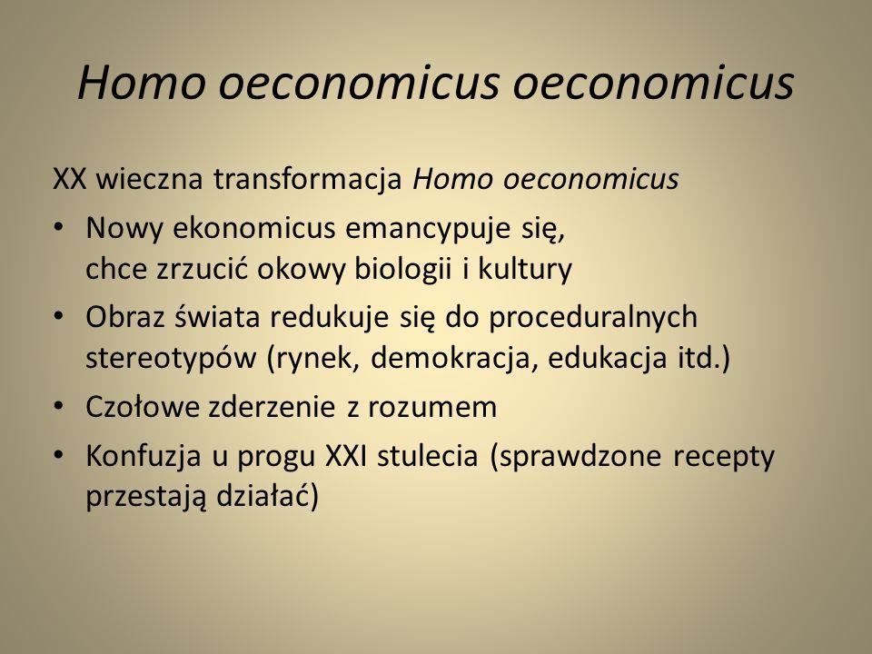 Obraz świata ekonomikusa Absolutyzacja wzrostu wzrost tożsamy z rozwojem (teraz w nowym opakowaniu) Aprioryzm można precyzyjnie kalkulować skutki działań (po co eksperymentować?) Kompulsywność zaabsorbowanie szczegółami, regułami, porządkiem (sens?) Lokalna racjonalność nieprzerwane pasmo sukcesów prowadzi do sukcesu (czyżby?) Millenaryzm osiągnięto ład ostateczny (ew.