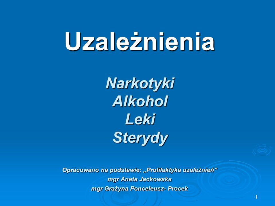 1 Uzależnienia NarkotykiAlkoholLekiSterydy Opracowano na podstawie: Profilaktyka uzależnień mgr Aneta Jackowska mgr Grażyna Ponceleusz- Procek