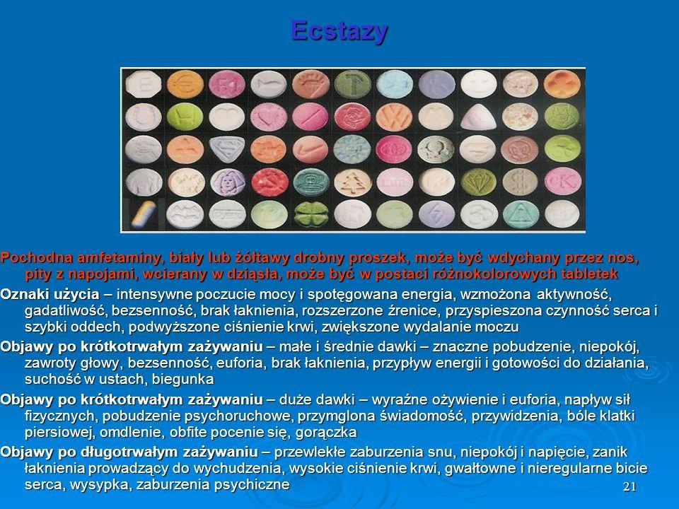 21 Ecstazy Pochodna amfetaminy, biały lub żółtawy drobny proszek, może być wdychany przez nos, pity z napojami, wcierany w dziąsła, może być w postaci