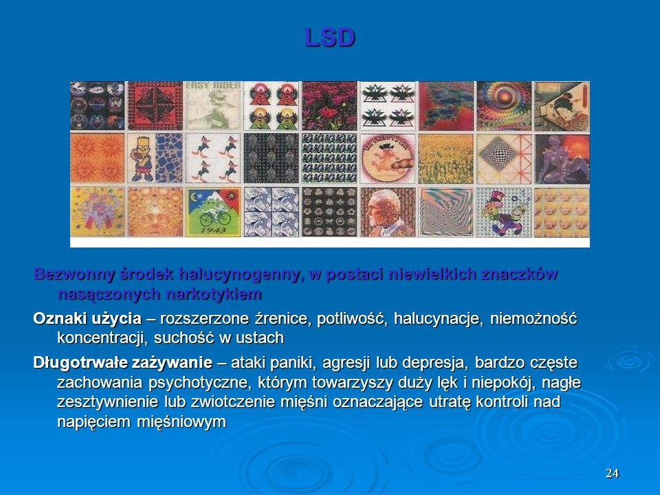 24 LSD Bezwonny środek halucynogenny, w postaci niewielkich znaczków nasączonych narkotykiem Oznaki użycia – rozszerzone źrenice, potliwość, halucynac