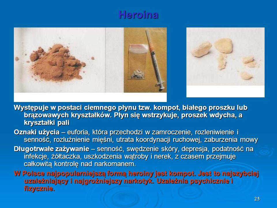 25 Heroina Występuje w postaci ciemnego płynu tzw. kompot, białego proszku lub brązowawych kryształków. Płyn się wstrzykuje, proszek wdycha, a kryszta