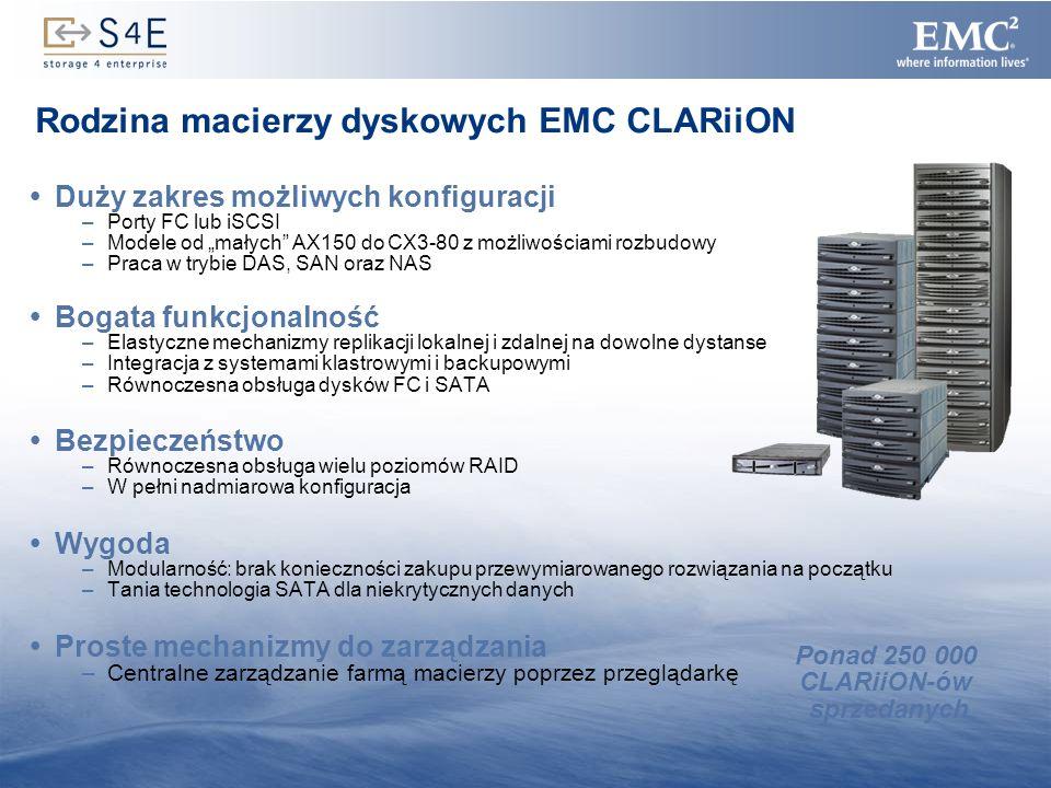 10 Rodzina macierzy dyskowych EMC CLARiiON Duży zakres możliwych konfiguracji –Porty FC lub iSCSI –Modele od małych AX150 do CX3-80 z możliwościami ro