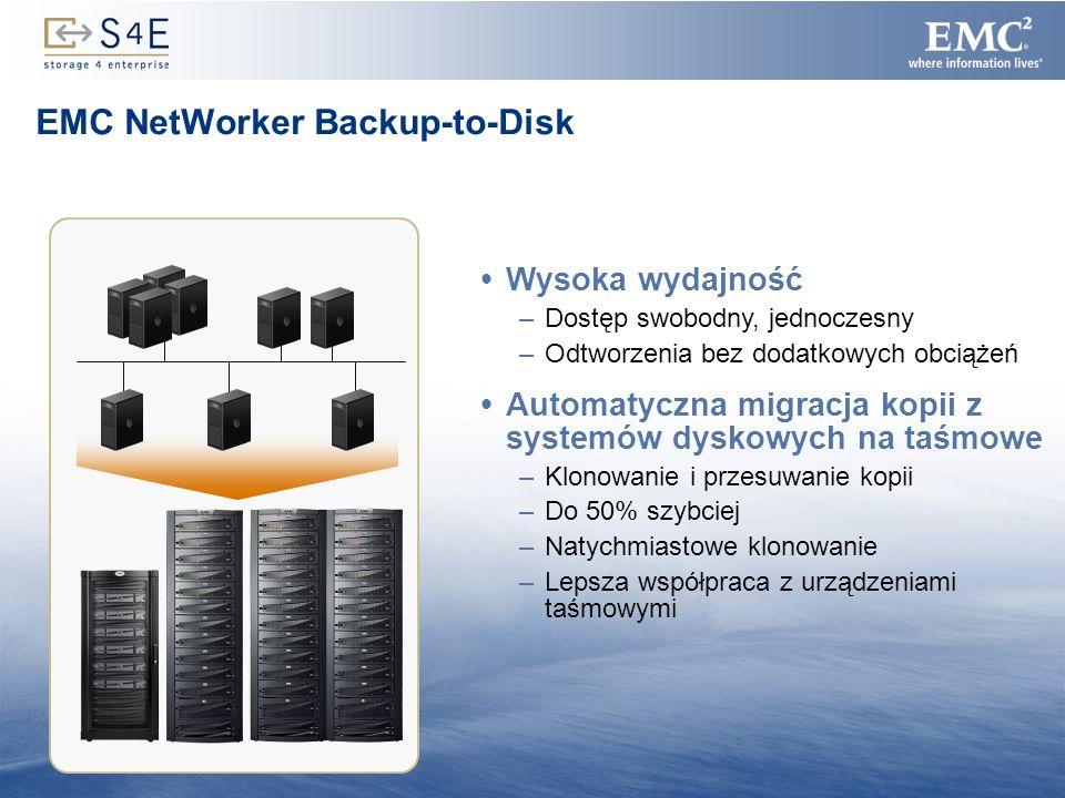14 EMC NetWorker Backup-to-Disk Wysoka wydajność –Dostęp swobodny, jednoczesny –Odtworzenia bez dodatkowych obciążeń Automatyczna migracja kopii z sys