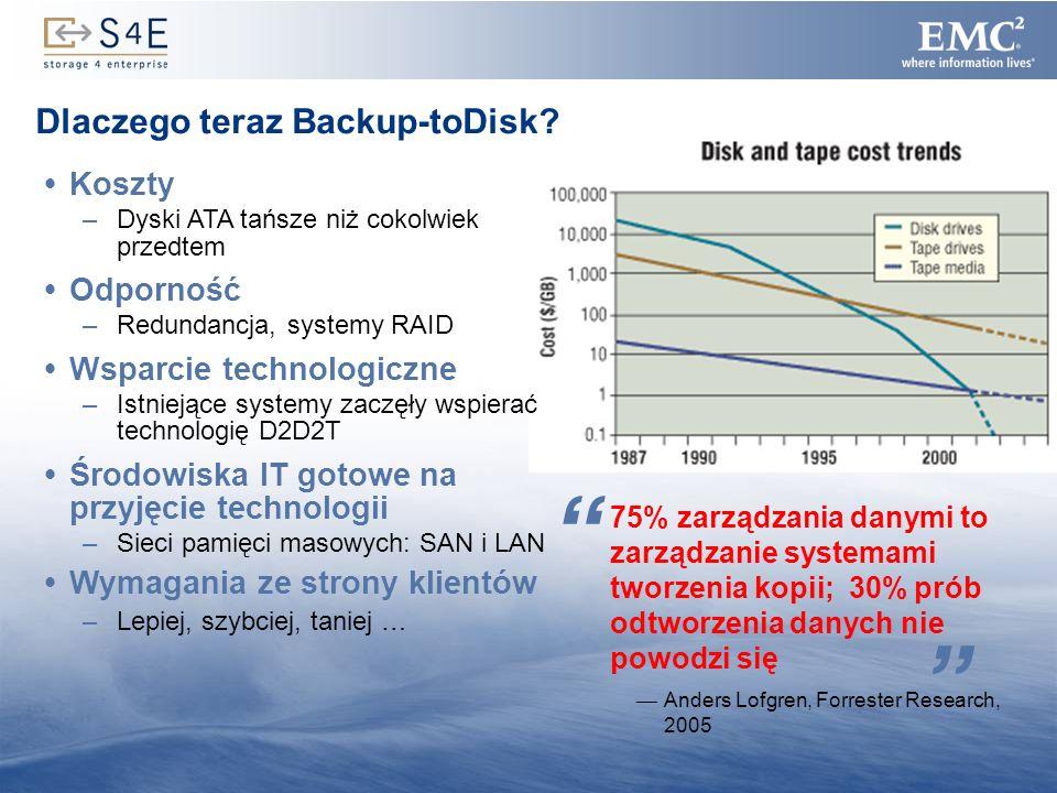8 Dlaczego teraz Backup-toDisk? Koszty –Dyski ATA tańsze niż cokolwiek przedtem Odporność –Redundancja, systemy RAID Wsparcie technologiczne –Istnieją