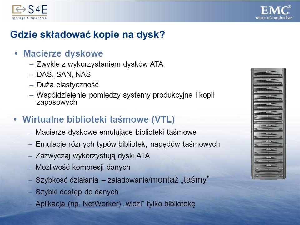 10 Rodzina macierzy dyskowych EMC CLARiiON Duży zakres możliwych konfiguracji –Porty FC lub iSCSI –Modele od małych AX150 do CX3-80 z możliwościami rozbudowy –Praca w trybie DAS, SAN oraz NAS Bogata funkcjonalność –Elastyczne mechanizmy replikacji lokalnej i zdalnej na dowolne dystanse –Integracja z systemami klastrowymi i backupowymi –Równoczesna obsługa dysków FC i SATA Bezpieczeństwo –Równoczesna obsługa wielu poziomów RAID –W pełni nadmiarowa konfiguracja Wygoda –Modularność: brak konieczności zakupu przewymiarowanego rozwiązania na początku –Tania technologia SATA dla niekrytycznych danych Proste mechanizmy do zarządzania –Centralne zarządzanie farmą macierzy poprzez przeglądarkę Ponad 250 000 CLARiiON-ów sprzedanych