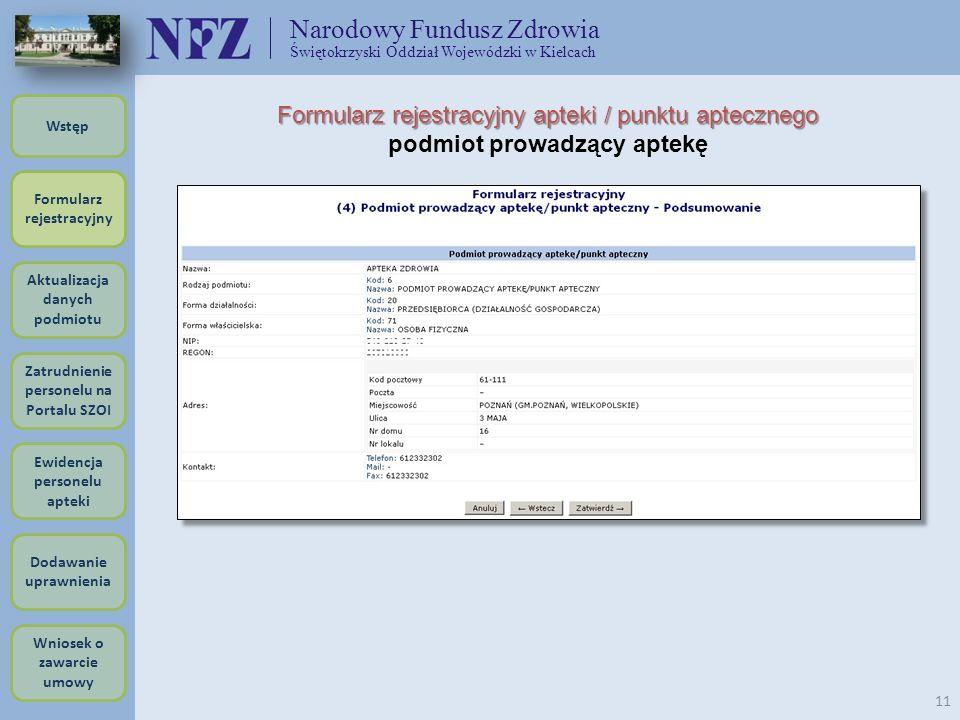Narodowy Fundusz Zdrowia Świętokrzyski Oddział Wojewódzki w Kielcach 11 Formularz rejestracyjny apteki / punktu aptecznego podmiot prowadzący aptekę F