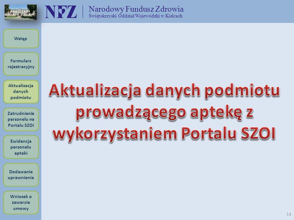Narodowy Fundusz Zdrowia Świętokrzyski Oddział Wojewódzki w Kielcach 14 Formularz rejestracyjny Wstęp Aktualizacja danych podmiotu Zatrudnienie person
