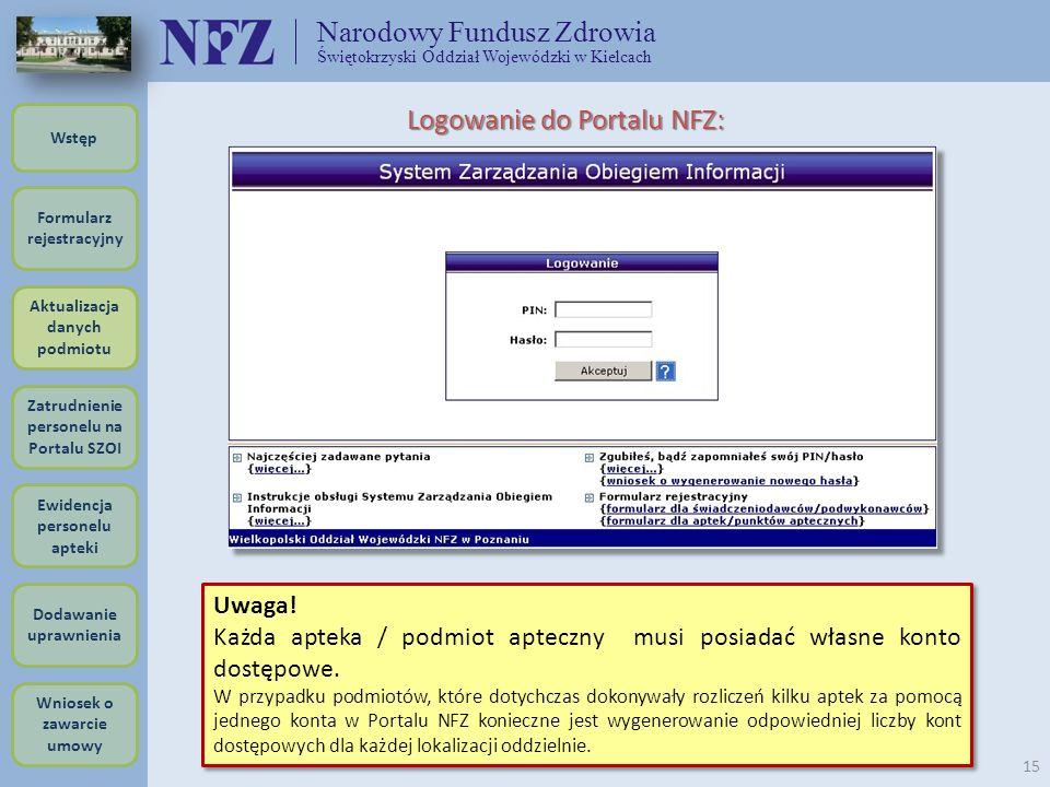 Narodowy Fundusz Zdrowia Świętokrzyski Oddział Wojewódzki w Kielcach 15 Logowanie do Portalu NFZ: Uwaga! Każda apteka / podmiot apteczny musi posiadać