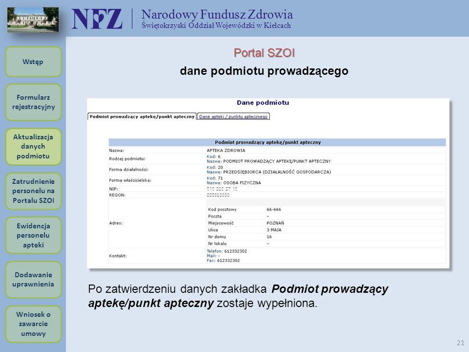 Narodowy Fundusz Zdrowia Świętokrzyski Oddział Wojewódzki w Kielcach 21 Portal SZOI dane podmiotu prowadzącego Po zatwierdzeniu danych zakładka Podmio