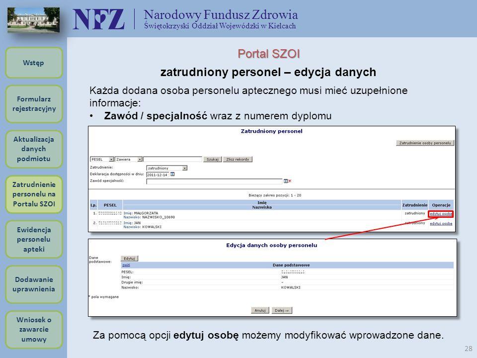 Narodowy Fundusz Zdrowia Świętokrzyski Oddział Wojewódzki w Kielcach 28 Portal SZOI zatrudniony personel – edycja danych Za pomocą opcji edytuj osobę
