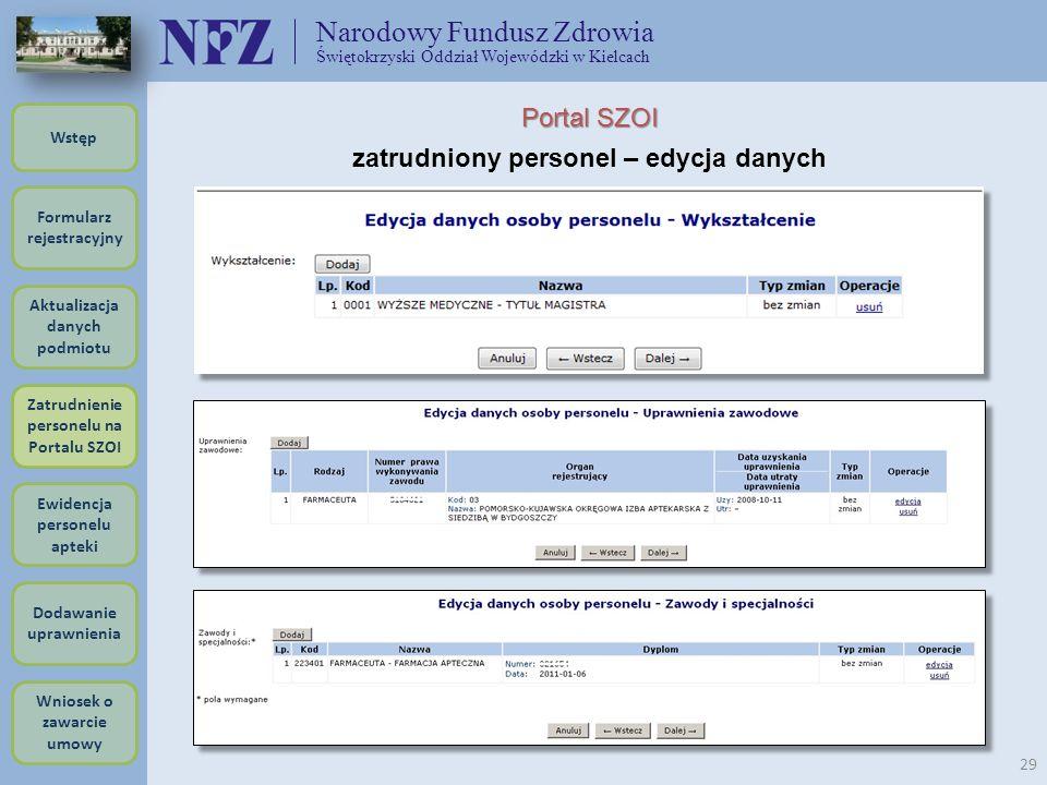 Narodowy Fundusz Zdrowia Świętokrzyski Oddział Wojewódzki w Kielcach 29 Portal SZOI zatrudniony personel – edycja danych Formularz rejestracyjny Wstęp