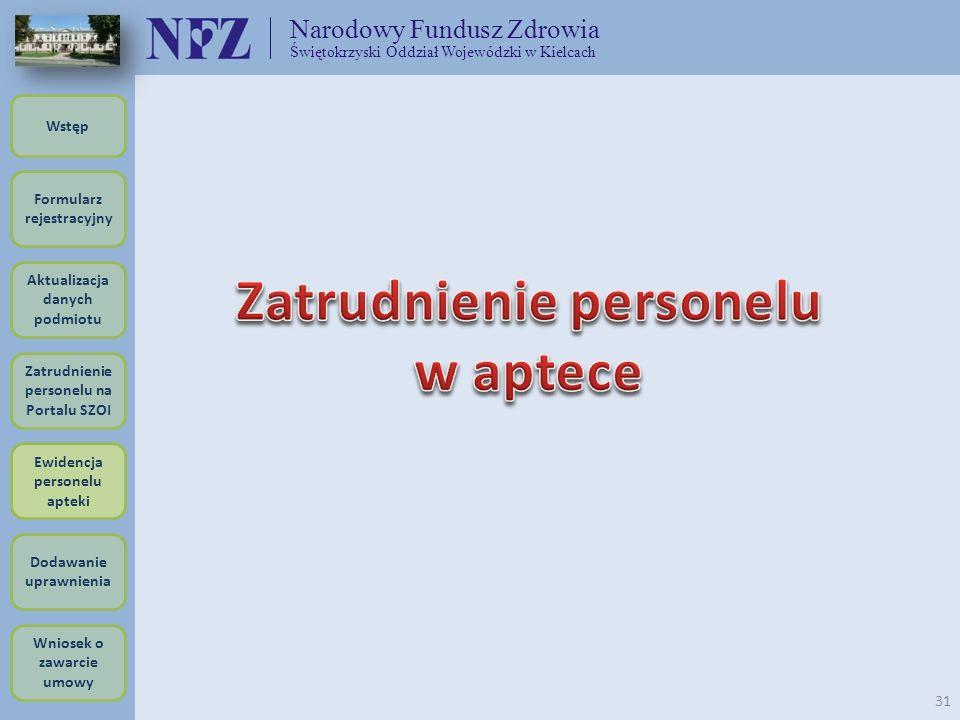 Narodowy Fundusz Zdrowia Świętokrzyski Oddział Wojewódzki w Kielcach 31 Formularz rejestracyjny Wstęp Aktualizacja danych podmiotu Zatrudnienie person