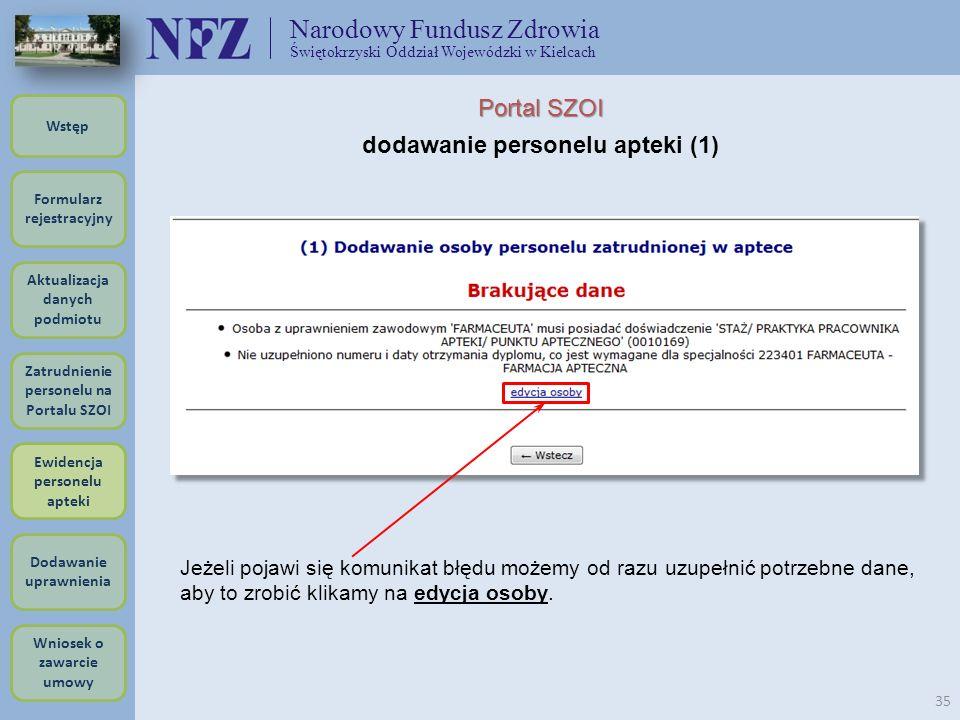 Narodowy Fundusz Zdrowia Świętokrzyski Oddział Wojewódzki w Kielcach 35 Portal SZOI dodawanie personelu apteki (1) Jeżeli pojawi się komunikat błędu m