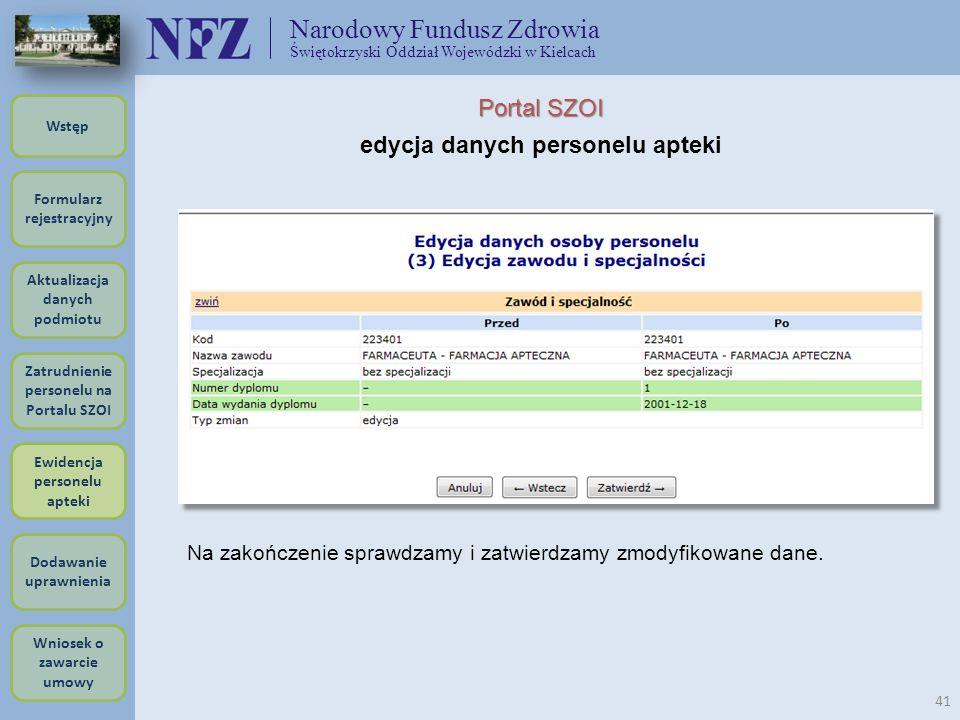 Narodowy Fundusz Zdrowia Świętokrzyski Oddział Wojewódzki w Kielcach 41 Portal SZOI edycja danych personelu apteki Na zakończenie sprawdzamy i zatwier