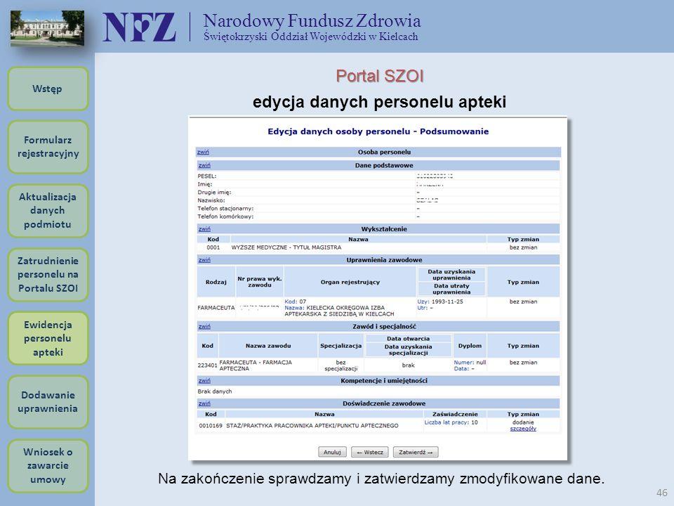 Narodowy Fundusz Zdrowia Świętokrzyski Oddział Wojewódzki w Kielcach 46 Portal SZOI edycja danych personelu apteki Na zakończenie sprawdzamy i zatwier