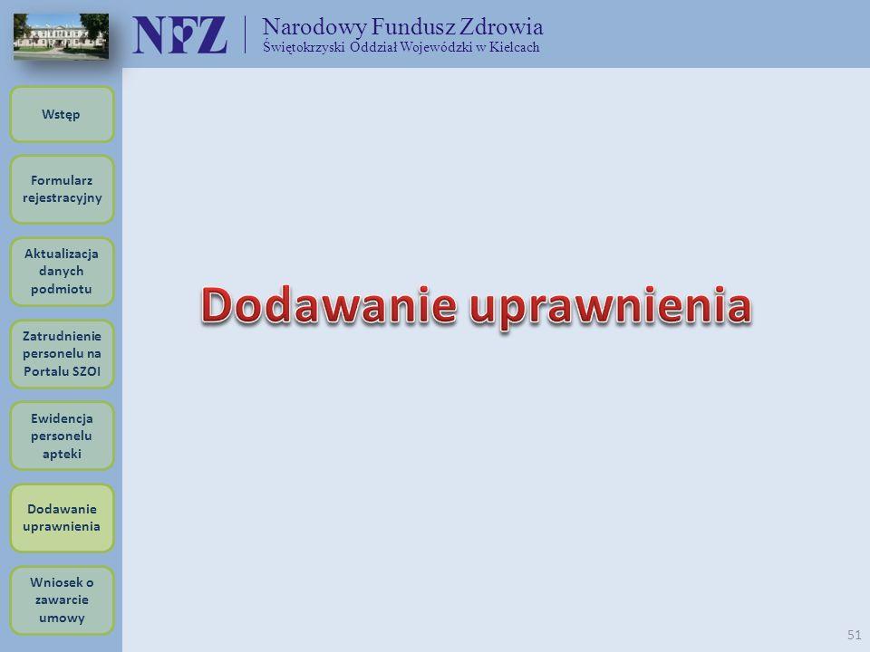 Narodowy Fundusz Zdrowia Świętokrzyski Oddział Wojewódzki w Kielcach 51 Formularz rejestracyjny Wstęp Aktualizacja danych podmiotu Zatrudnienie person