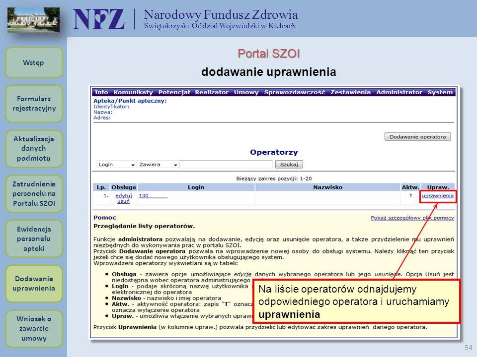 Narodowy Fundusz Zdrowia Świętokrzyski Oddział Wojewódzki w Kielcach 54 Formularz rejestracyjny Wstęp Aktualizacja danych podmiotu Zatrudnienie person