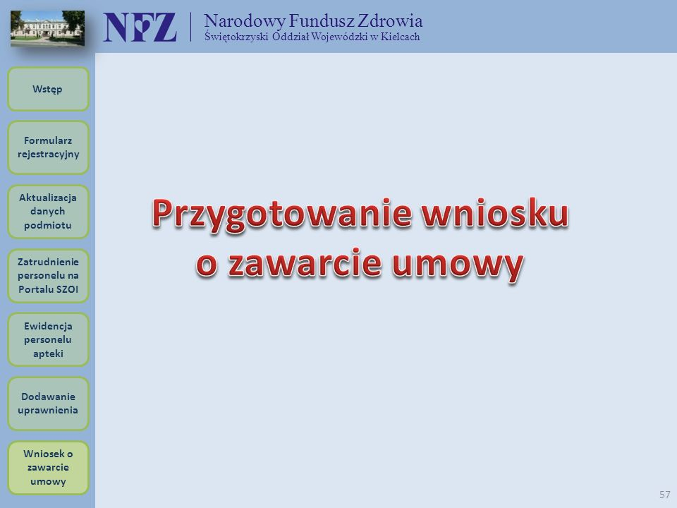 Narodowy Fundusz Zdrowia Świętokrzyski Oddział Wojewódzki w Kielcach 57 Formularz rejestracyjny Wstęp Aktualizacja danych podmiotu Zatrudnienie person