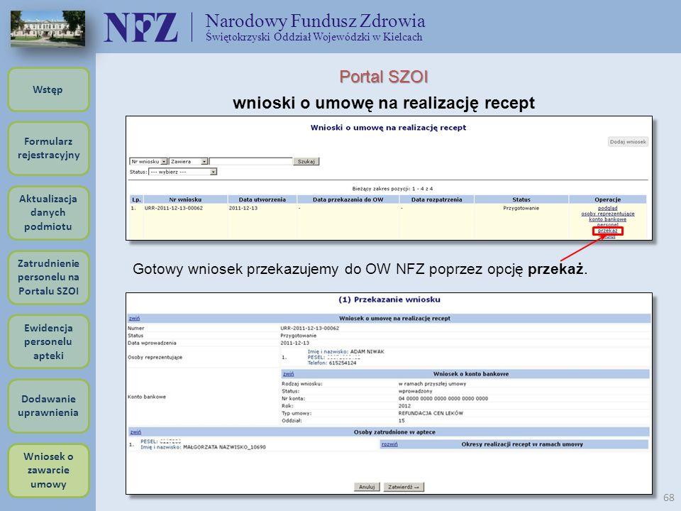 Narodowy Fundusz Zdrowia Świętokrzyski Oddział Wojewódzki w Kielcach 68 Portal SZOI wnioski o umowę na realizację recept Gotowy wniosek przekazujemy d